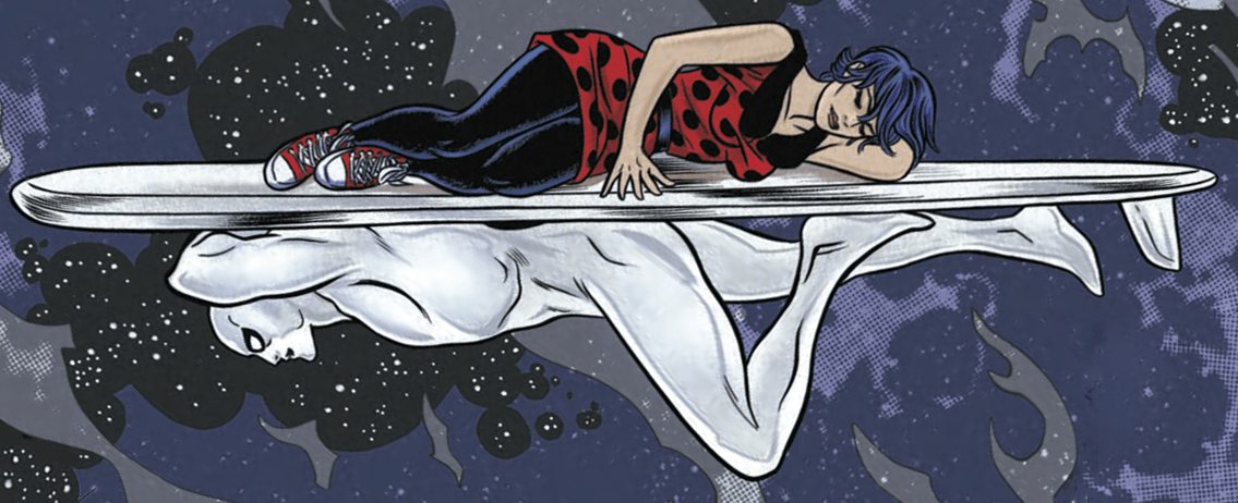 Illustration issue de Silver Surfer t.2 © 2014, Marvel Comics, 2015, Panini Comics, Dan Slott & Mike Allred