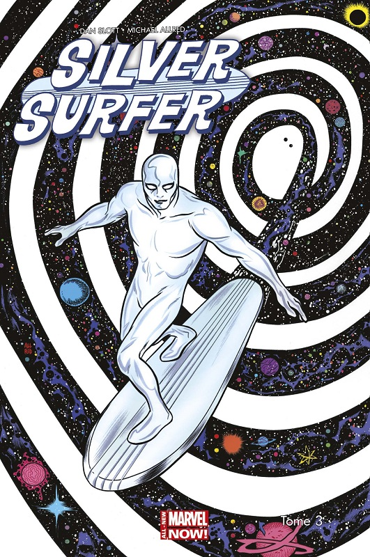 Illustration issue de Silver Surfer t.3 © 2014, Marvel Comics, 2016, Panini Comics, Dan Slott & Mike Allred