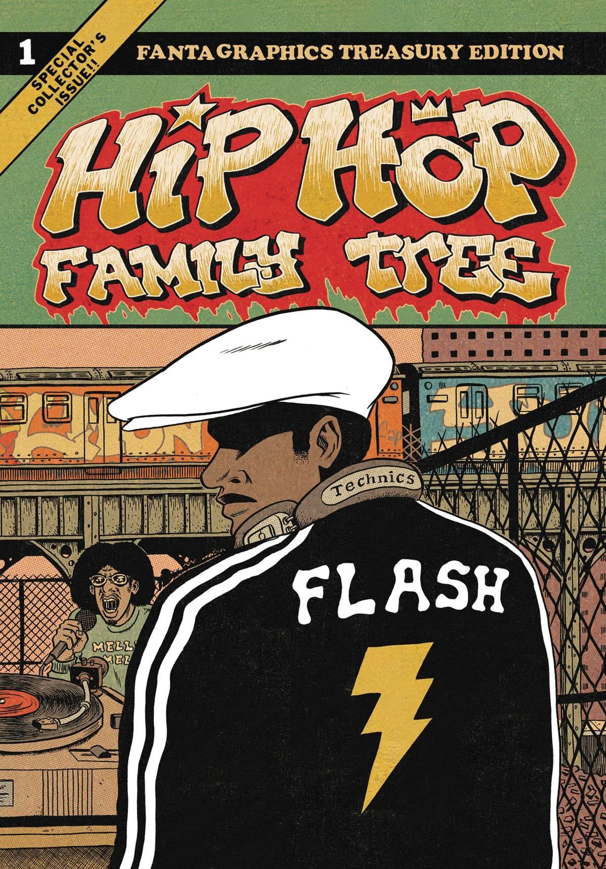Couverture de Hip Hop Family Tree t.1 © 2012 Ed Piskor, 2013 Fantagraphics, 2016 Papa Guédé