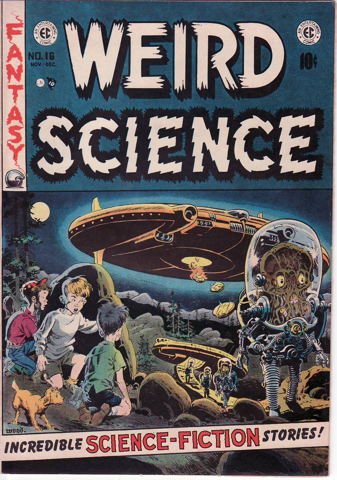 Couverture de Weird Science n°16 © 1950, EC Comics, William Gaines et Al Feldstein